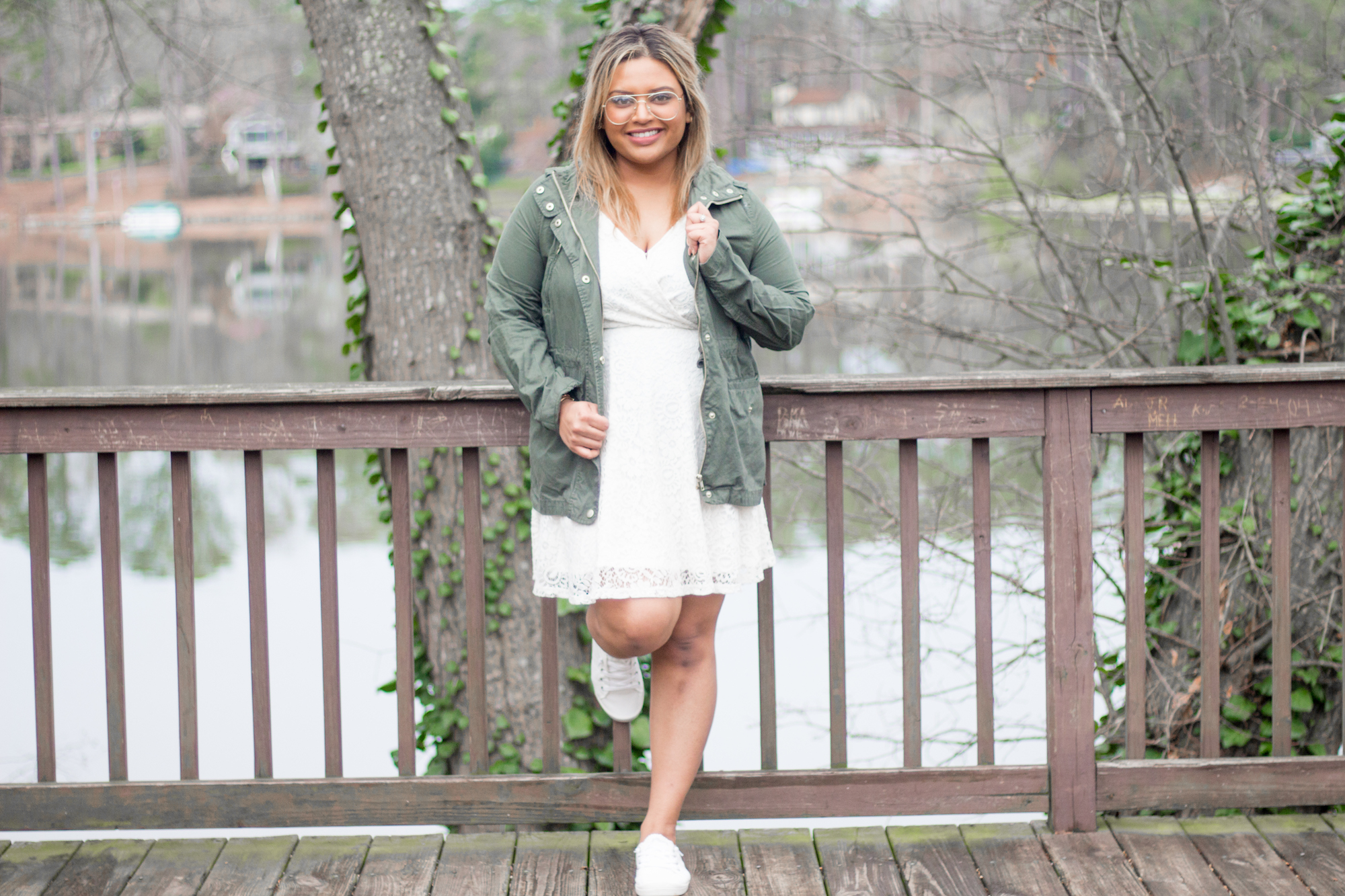 green-jacket-and-white-lace-dress